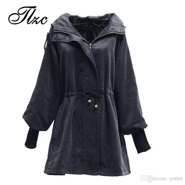 Wholesale-British Fashion Women Winter Wool & Blends Jackets Large Size L-3XL Slim Fitting Hooded Design Lady Black Warm Coats