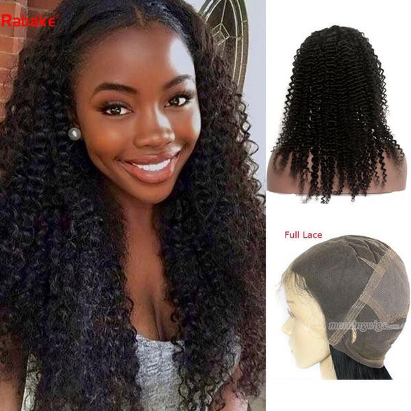 Rabakehair cabelo Humano perucas cheias do laço Kinky Curly onda Peruano 100% Não Transformados Remy Perucas de Cabelo Humano Branqueada konts Natureza Olhar tece