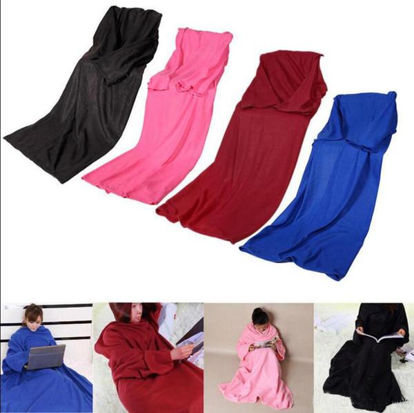 top popular Soft Warm Fleece Snuggie Blanket Robe Cloak With Cozy Sleeves Wearable Sleeve Blanket Wearable Blanket 3 Colors 2019