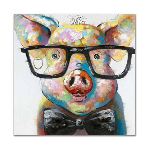 Animal Cartoon Cute Pig HandPainted Modern Abstract Wall Art Oil Painting Cartoon Animal Home Deco On Canvas.Multi size frame Option A135