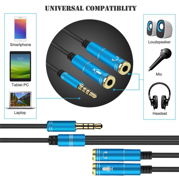 Audio Cable 3.5mm Jack Microphone Splitter 1 Male to 2 Female Jack 3.5 Extension Aux Cable Adapter for Phone Latpop