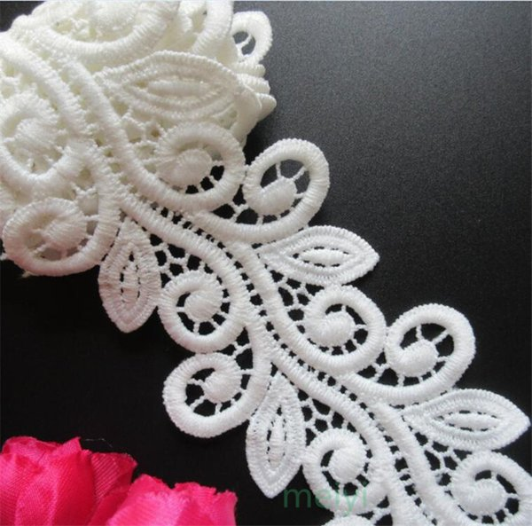 White Micro Fiber Flower Embroidered Fabric Lace Trim Ribbon Handmade DIY Sewing Supplies Craft For Costume Decoration 2 yards/set