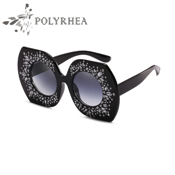 2019 Luxury Sunglasses Large Frame Elegant Special Designer With Diamond Frame Built-In Circular Lens Top Quality Come With Case