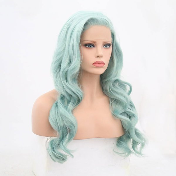 Synthetic Body Wave Lace Wig Blue Green Glueless Heat Resistant Fiber Hair Lace Front Wigs Natural Hairline Side Part For Women