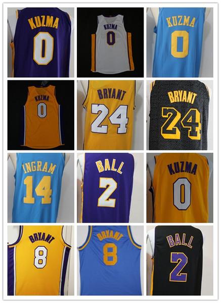 buy online 0cce3 731eb 2018 2018 New Men Lal Youth Los Angeles 2 Lonzo Ball 0 Kyle Kuzma Jersey  Lakers Stitching 14 Brandon Ingram 24 8 Kobe Bryant The City Jerseys From  ...