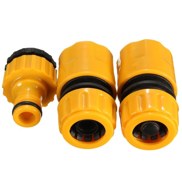 """3pcs Hose Pipe Fitting Set Quick Yellow Water Connector Adapter Garden Lawn Tap Garden Accessories for 3/4"""" and 1/2"""" Taps"""