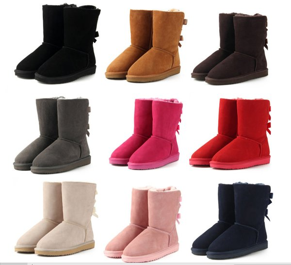 2018 brand Classic Genuine leather bailey bow snow boots 100% Wool Women Boots Warm winter shoes for woman Australia snow boots