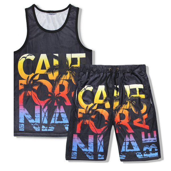 Men Summer Fashion Tank Top Set 3D Print California Beach 2Pcs Mesh Vest Tracksuit Sets Casual Fitness Top Shorts M-XXL