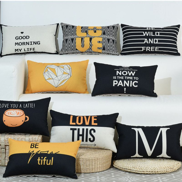 modern rectangular cushion cover 30*50 black geometric throw pillow case sofa chaise cojines decorativos letter almofada