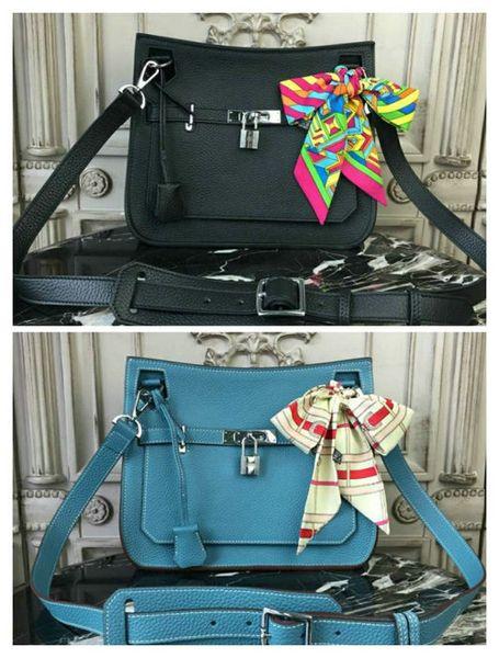 100% FULL LEATHER MESSENGER SHOULDER BAGS 27CM new HERMB BIRKIN30CM 35CM HANDBAG embossed YF0309 portable shoulde bag Blue black kaili bags