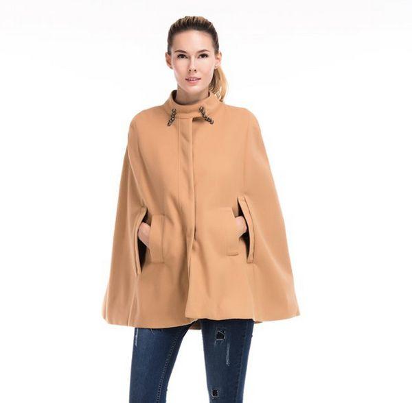 New European Fashion Women Poncho Coats TTurtleneck Collar Cloak Tees Cloth Coat Lady Casaco Coats Parka Top Cape Overcoat