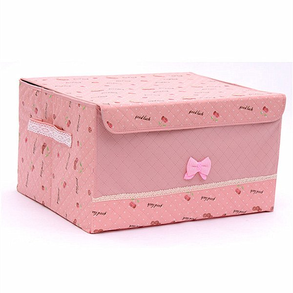 Cute Cherry Storage Boxes Clothes Packing Box Large Underwear Finishing Box With Lid Waterproof Folding Cosmetics Receiving Kutu Socks Case