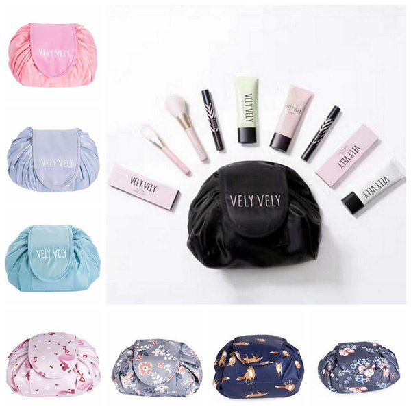 lazy Portability Vely Magic Travel Pouch Cosmetic Womens Makeup Cosmetic Bags Organizer Storage Drawstring Bags 8 color EEA96 12pcs