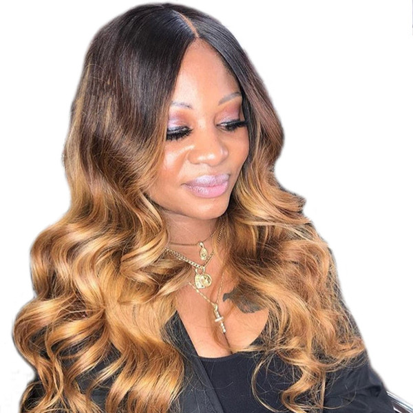 Full Lace Human Hair Wigs Ombre Two Tone 1B 27 Wavy Brazilian Virgin Hair 150 Density Natural Hairline Glueless Bleached Knots