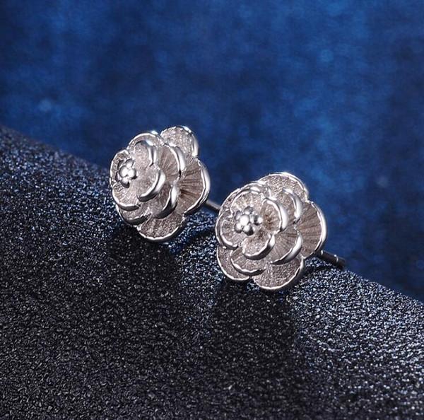 10 paires 2019 nouvelle mode coréenne boucles d'oreilles en argent petites fleurs de marguerite senior fleur boucles d'oreilles femme bijoux en gros