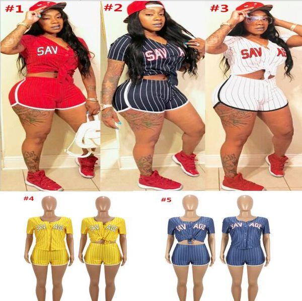 Striped Women Baseball Clothes Suit Summer Sports Outfit V-Neck Cardigan T shirt Crop Top + Shorts Short Pants 2PCS Set Sexy Tracksuit 2018