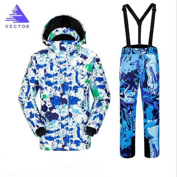 VECTOR Brand Men Ski Jacket Pant Snowboard Suit Winter Clothing Windproof Waterproof Breathable Super Warm Male Coat Trouser New