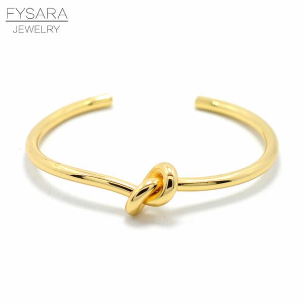 Fysara Simple Knot Cuff Bracelet Manchette Couple Love Bangle Bracelet For Women Men Pulseiras Bridesmaid Jewelry Knot Bangle