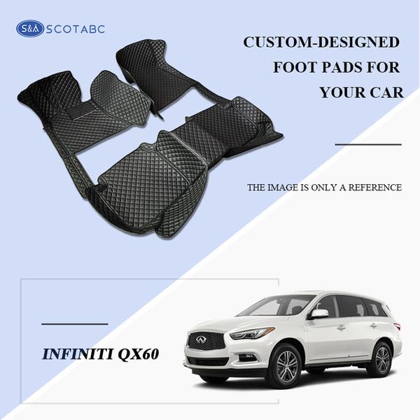 SCOTABC Custom-Fit Front & Rear Car Foot Pads All Weather Leather Car Floor Mats for Infiiniti QX60 Waterproof Anti-slip 3D Carpets