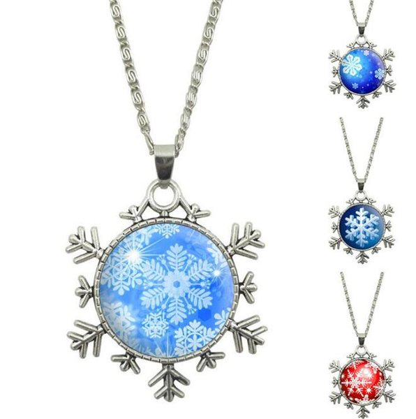2018 Christmas Snowflake Gemstone Pendant Necklace Vintage Silver Sweater Chain Alloy Multiple Styles