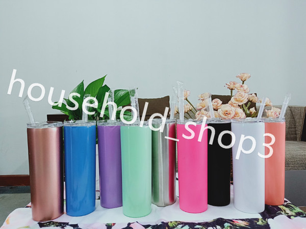 top popular IN STOCK 20oz skinny tumbler 20ounce skinny tumbler stainless steel mug 600ml candy colors with lids 2021