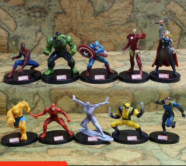 10pcs/set Avengers Superheros Iron Man Spiderman Wolverine Quicksilver Ben Grimm Hulk PVC Action Figure Toy KT402