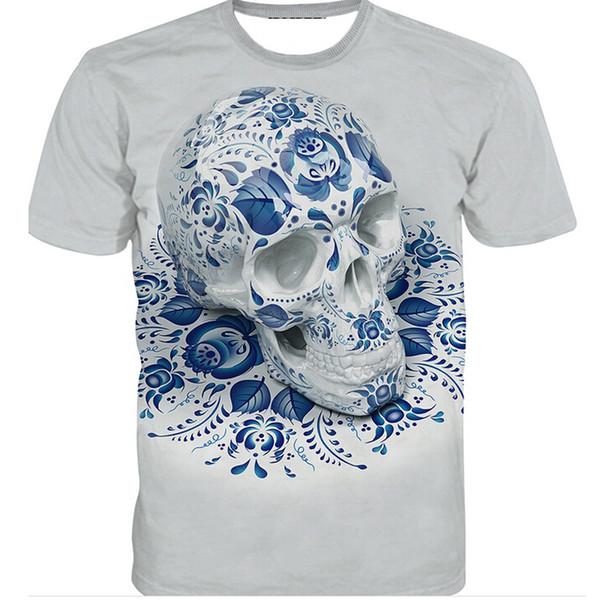 Nueva Llegada Floral Skull T Shirt Hombres / Mujeres Nueva Moda Hip Hop Streetwear 3D Graphic Tops Tees Ropa Casual U870