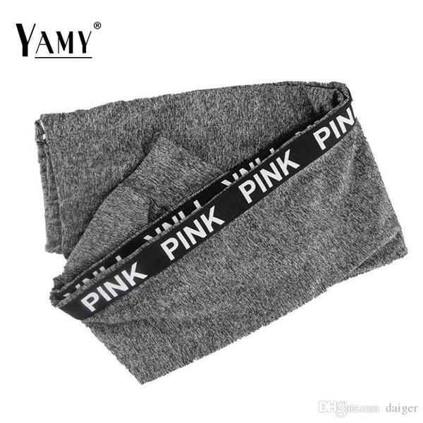 Wholesale- Winter High Waist Fitness Leggings Pink Letter Print Fashion Fitness Workout Leggings Elastic Pants Plus Size Activewear