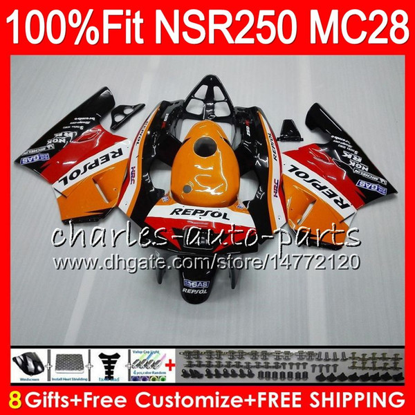 Injection For HONDA MC28 PGM4 NSR250R 94 95 96 97 98 99 79HM.7 NSR 250 NSR250 R NSR 250R 1994 1995 1996 1997 1998 1999 Repsol Orange Fairing