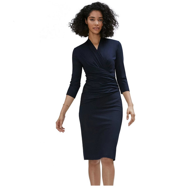 Designer Autumn OL Dresses Office Women Clothing Navy Blue 3/4 Sleeve Pleated Wrap Work Pencil Vestidos Casual Midi Dresses