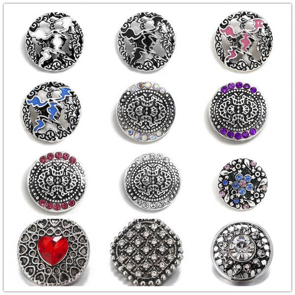 Exquisite Inlay Rhinestone/Gem Crystal Snap Buttons 18mm Metal Flower Decorative Button for Snap Jewelry Findings
