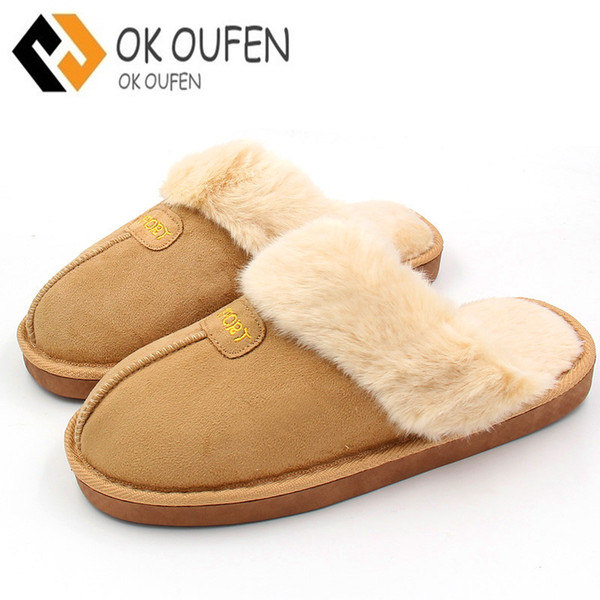 Winter Women Slippers Plush Home Shoes Woman Couples Fur Slippers For Grown Ups Unisex Warm Home Indoor Floor Shoes
