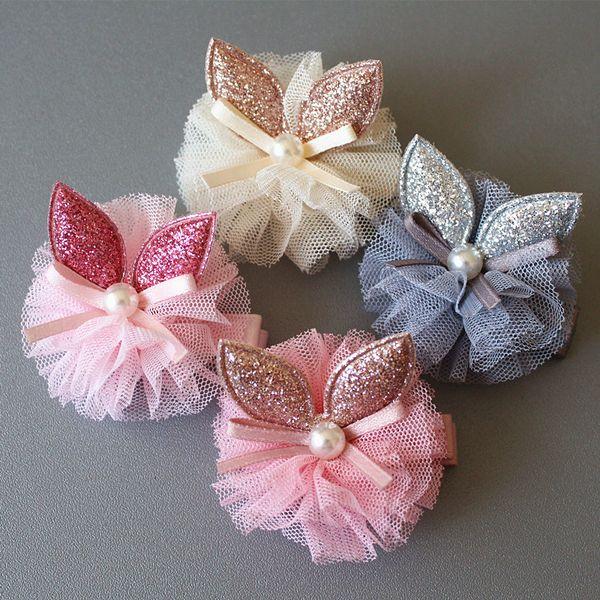 20pc/lot Rabbit Ears Glitter Felt Baby Hair Clip Modish Girls 5cm Hair Grip Gauze Princess Pearl Lovely Ribbon Bowknot Hair Barrettes