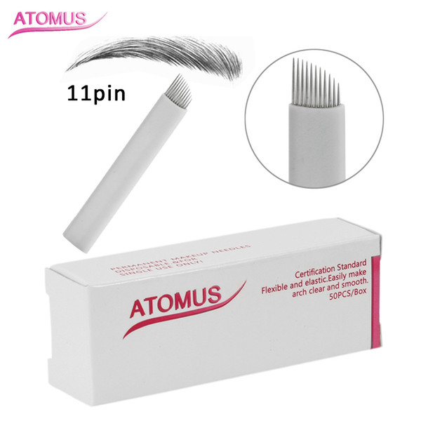 50pcs 11 Pin Sloped Head Stitch Shape Microblading Needles 14 Pins Tattoo Needles Curved For Mermanent Makeup Eyebrow Pen Machine White