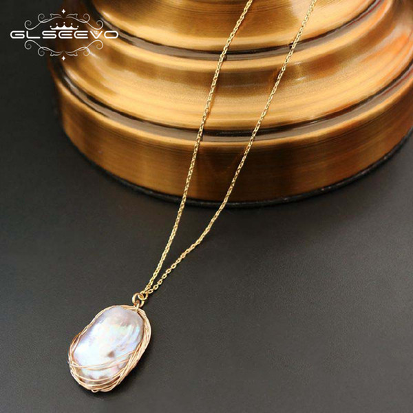 GLSEEVO 925S Silver Natural Fresh Water Baroque Pearl Pendant Necklace For Women Statement Necklaces Luxury Jewelry GN0056 Y18102910