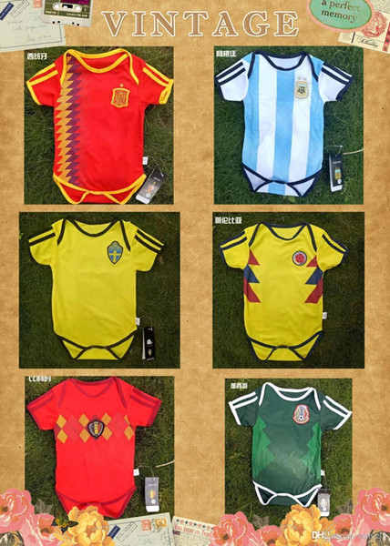 c90120a0c69 Spain Argentina Mexico Belgium Colombia baby jersey 2018 World Cup 6-18  months MULLER POGBA baby Jumpsuit soccer jerseys