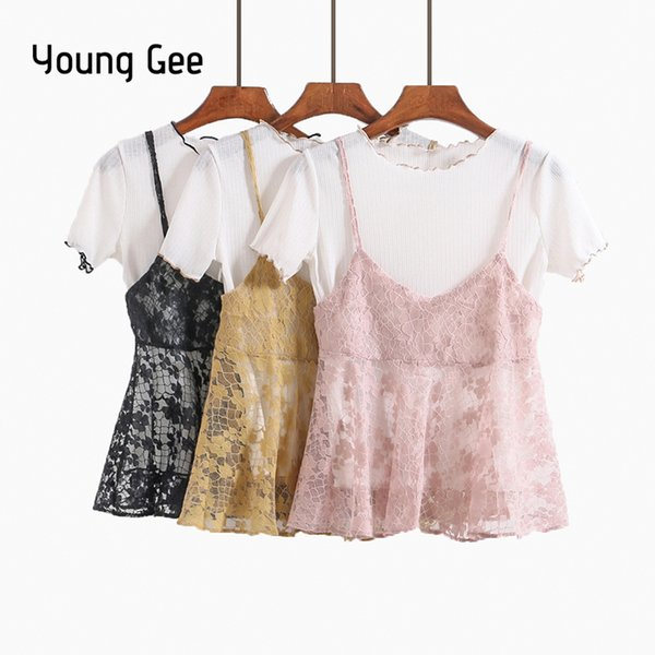 Young Gee Summer Women Knitted Blouses Short Sleeve Tops with Lace Floral Camis Spaghetti Strap Vest Casual Two Piece Sets Shirt