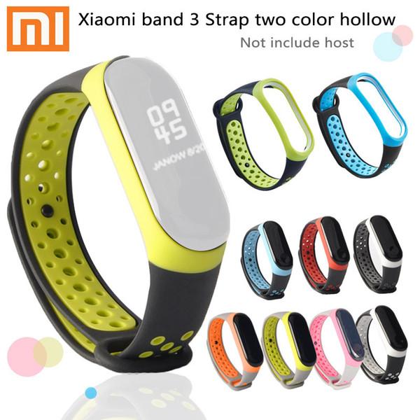 Для xiaomi группа 3 ремешок смарт браслет группа 3 ремешок band3 mi3 браслеты многоцветный дышащий mi группа 3 два цвета ремешок TPE силиконовые