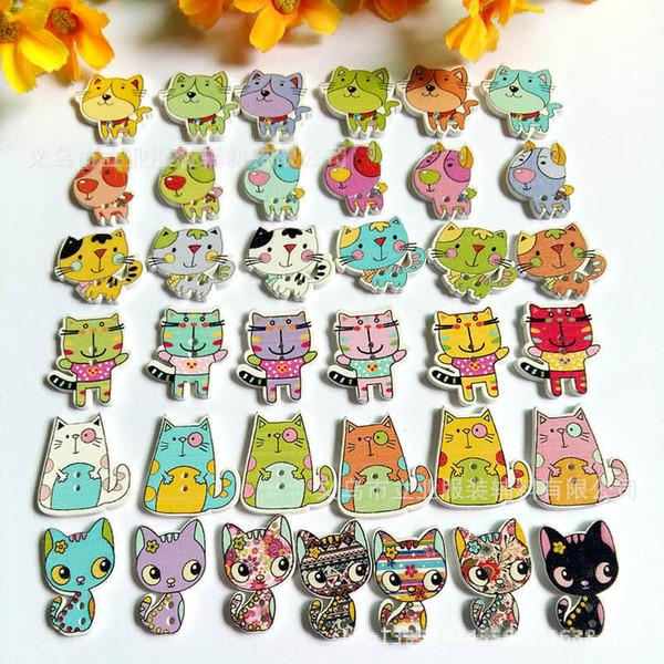 top popular 500pcs lot Random mixed Cartoon Dog Cat Flatback Wooden Buttons 2-Holes DIY Sewing Handmade Garment Accessories 2021