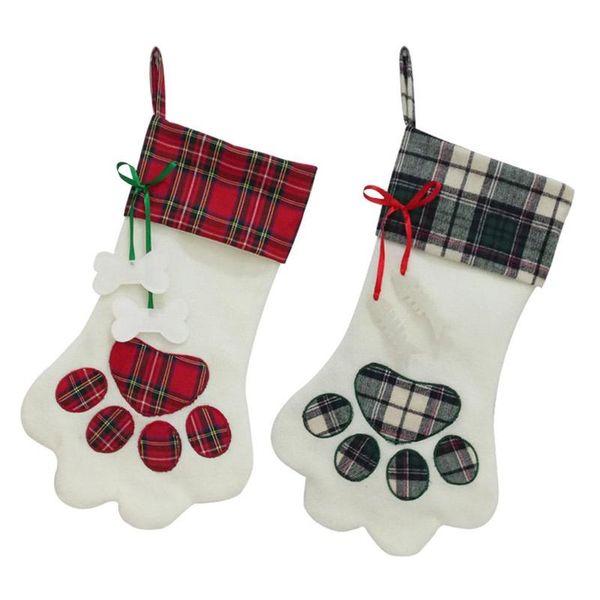 Pet Christmas Stocking Dog Paw Plaid Gift Bag Animal X-mas Stocking for Kids Candy Bag Gifts Christmas 2018 Indoor Decor