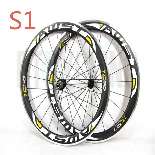 2018 top quality 50mm bicycle carbon wheels clincher 11s glossy finished alloy surface road bike wheels 700c with powerway hubs freeshipping