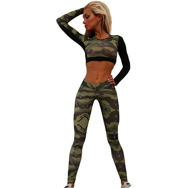 Leggings a vita alta da donna Camouflage Pantaloni lunghi elasticizzati traspiranti Pantaloni skinny Top manica lunga