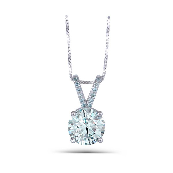 Transgems Platinum Plated Silver 3.08CTW 9mm Round Brilliant Moissanite Pendant Necklace with Accents for WomenX82301