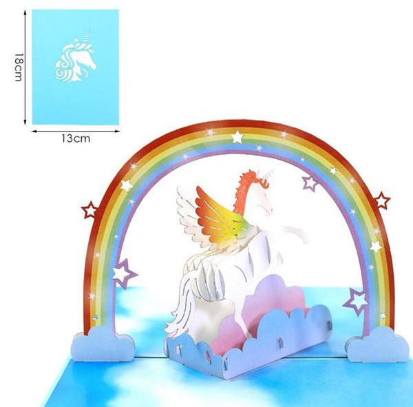 Compre Nuevo Unicornio 3d Láser Corte Papel Kraft Pop Up Tarjeta De Felicitación Con Sobre En Blanco Tarjetas Postales Licorne Kid Invitación A 3 67