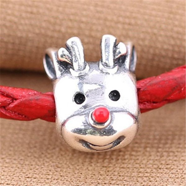 5pcs/lot Reindeer charms lot real S925 sterling silver fits pandora style bracelets RED-NOSED REINDEER, RED ENAMEL H9