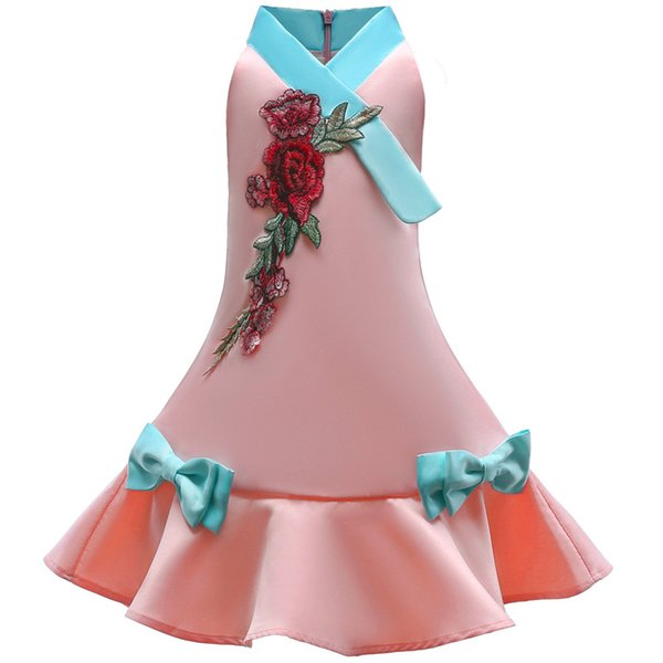 Vestidos de novia de Flower Girls con Fajas 2018 Verano para niños vestido de fiesta Corbata de lazo Princesa de seda Disfraces flores Imprimir Robe Fille Ropa infantil