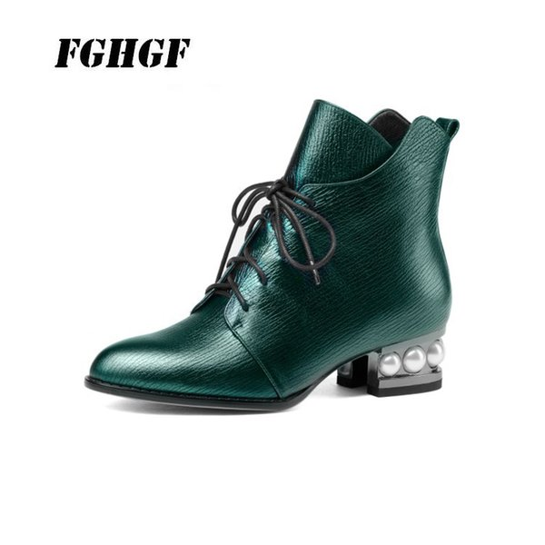 Genuine leather Autumn and winter style Boots of silver with thick stiletto and Martin boot Women's shoes with quilted tops