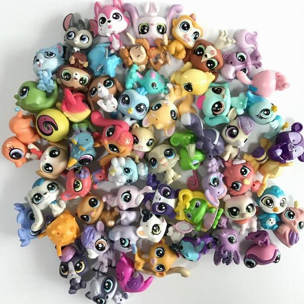 Venta al por mayor selección aleatoria Mini Littlest Pet Shop LPS Doll Animal Cartoon Cat Dog Animal Mini 1.0in Figuras de acción Juguetes para niños