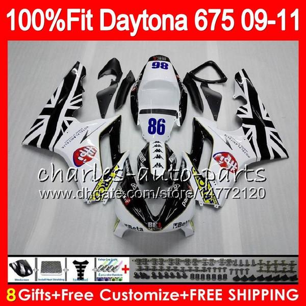 Injection For Triumph #86 top white Daytona 675 09 10 11 12 Bodywork 107HM.21 Daytona-675 Daytona675 Daytona 675 2009 2010 2011 2012 Fairing