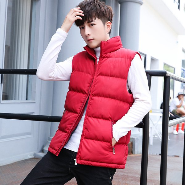 winter Warm Sleeveless Jacket Men cotton Waistcoat Men's Fashion Casual Coats Solid Outwear Vest High Quality Men Casual Vest